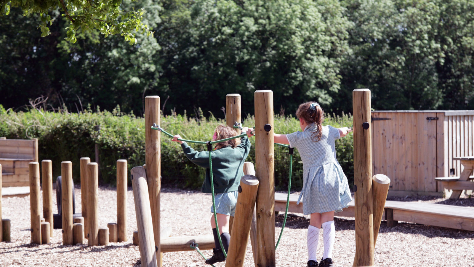 Children playing on rope bridge