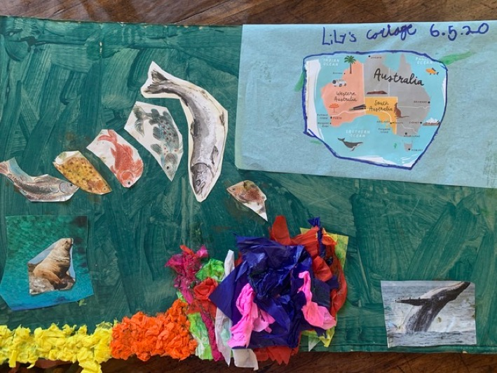 Lily Wilsey made this beautiful collage of the Great Barrier Reef