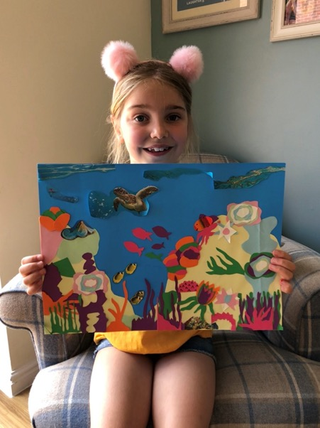 Violet made this beautiful collage of an underwater scene